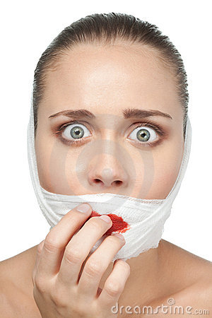 Afraid woman after plastic surgery