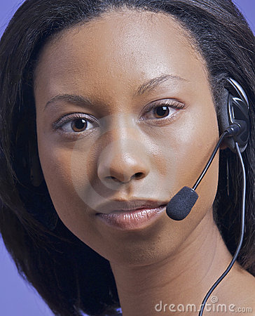 Afrian American woman talking on headset