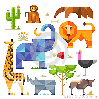 Free Africa Animals And Plants Stock Image - 55019721