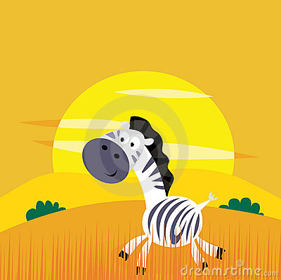 Africa animals: Cute cartoon africa zebra