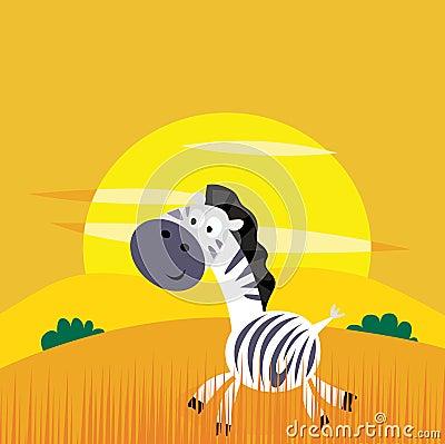 Africa animals: Cute cartoon africa zebra