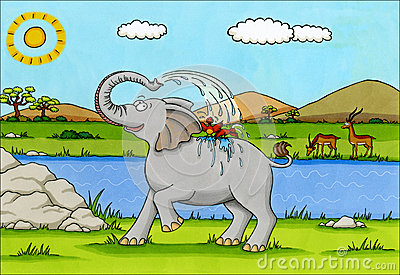 Africa Cartoon - Elephant splashing water