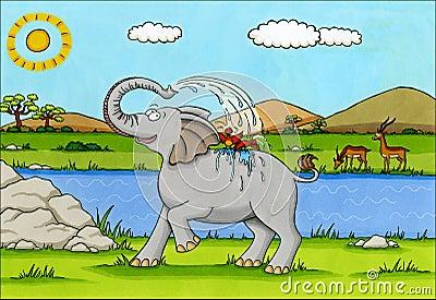 Africa Cartoon - Elephant splashing water