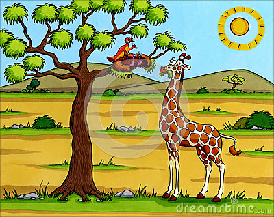 Africa Cartoon - Giraffe with birds