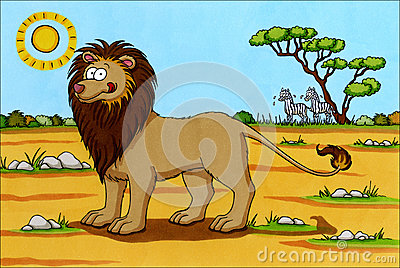 Africa Cartoon - Lion with zebras