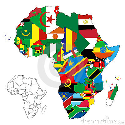 Free Africa Continent Flag Map Stock Photo - 23036570