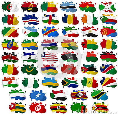 Africa countries flag blots