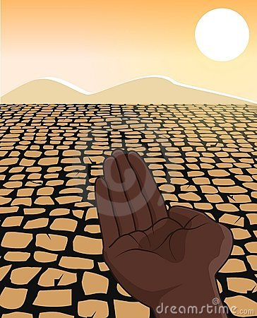 Africa Drought Famine Refugee Concept Illustration