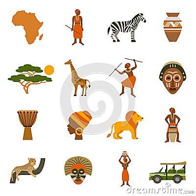 Free Africa Icons Set Royalty Free Stock Photo - 63380155