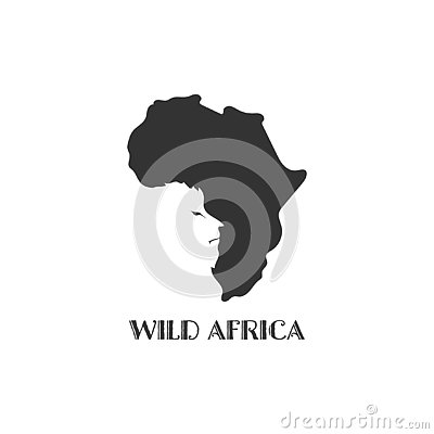 Africa map black silhouette country borders on white background. Contour of state with lion face on negative space. Vector Vector Illustration