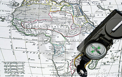 Africa map and compass