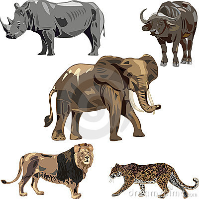 Free Africa S Five Wild Beasts Stock Photo - 16261360