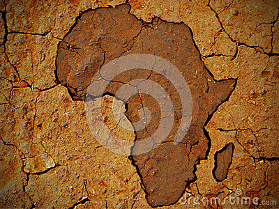 Africa shape on dry soil