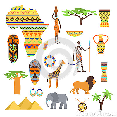Africa Symbols And Travel Vector Set Vector Illustration