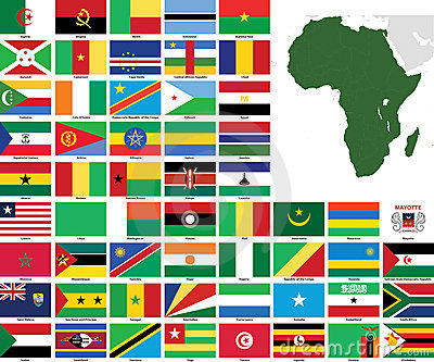 Africa Vector Flags and Maps