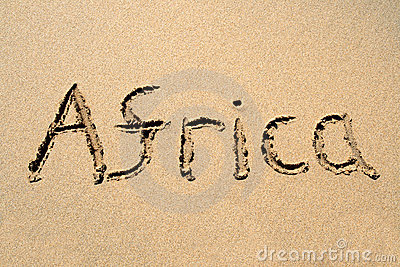 Africa, written on a beach