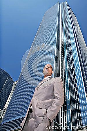African Amercian Businessman Outdoors Looking Onwa