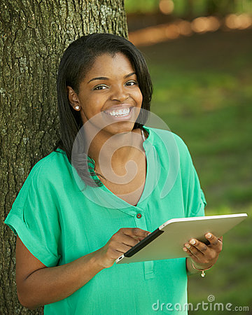 African America woman with tablet