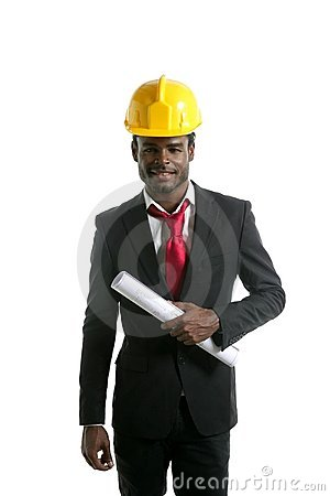 African american architect engineer yellow hardhat