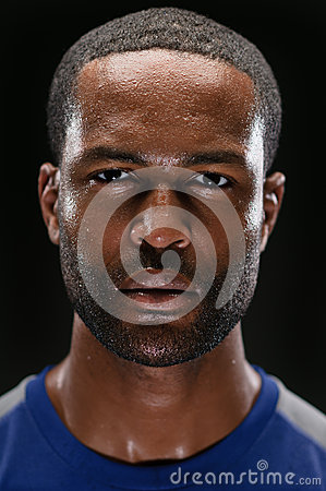 African American Athlete Portrait With Blank Expre