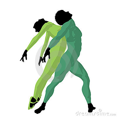 African American Ballet Couple Illustration