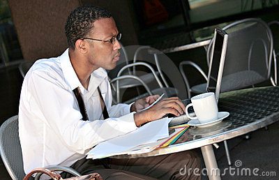 African American Black Businessman Working on His
