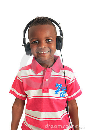 Free African American Black Child Listening To Music Royalty Free Stock Images - 24092729