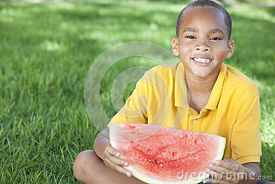 African American Boy Child Eating Water Melon