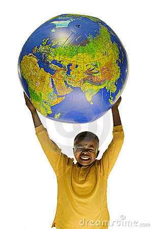 Free African American Boy Holding A Globe Stock Photo - 6919950