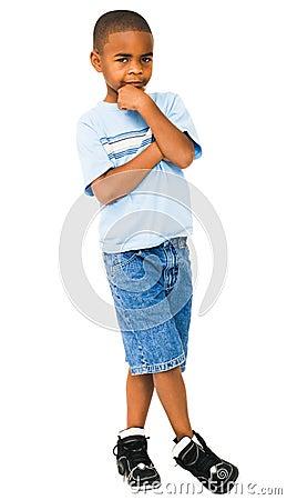 African-American boy thinking