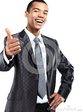 African American business man gesturing a thumbs up sign on