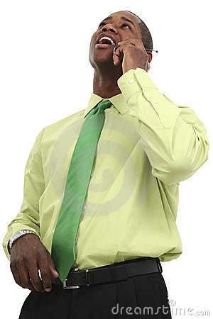 Free African American Business Man On Cellphone Stock Images - 239274