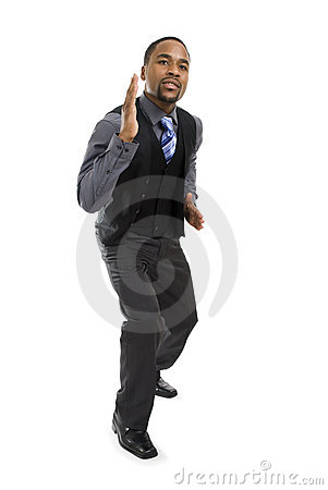 African american business man ready to run