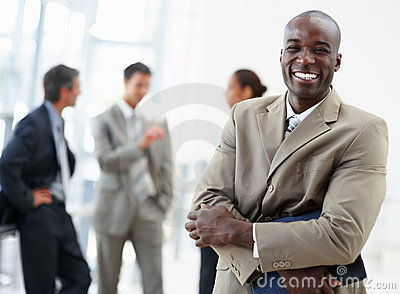 African American business man smiling confidently