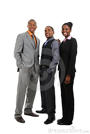 African american business team standing