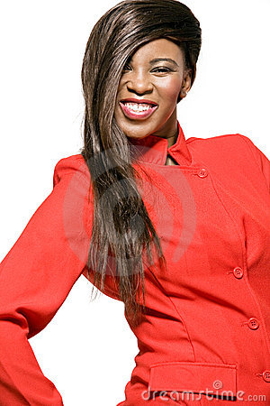 African-american business woman in red jacket.