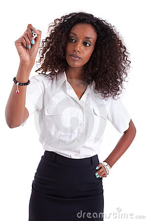 Free African American Business Woman  Writing Stock Photo - 21899490