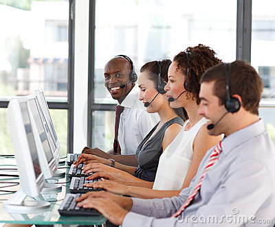 African-American businessman in a call center