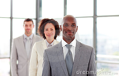 African-American businessman leading a team