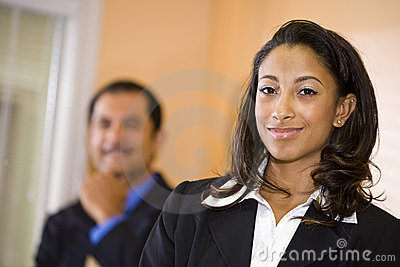 African-American businesswoman with male co-worker