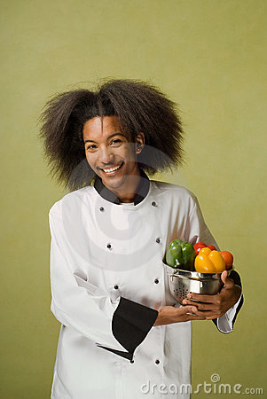 African American Chef Holding Washed Vegetables
