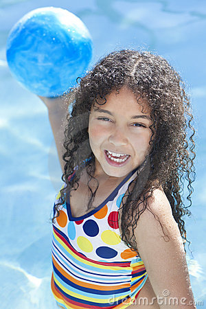 African American Child Playing In Swimming Pool
