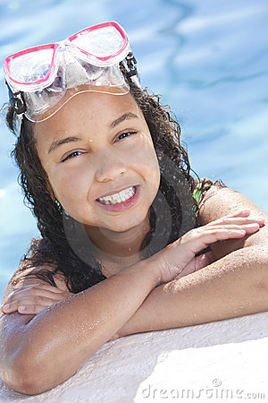 African American Child In Swimming Pool