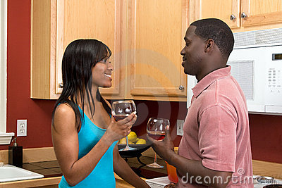 African American Couple Drinking Wine-Horizontal
