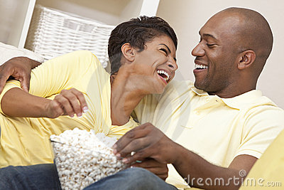 African American Couple Eat Popcorn Watch Movie
