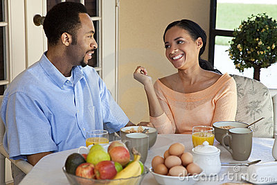 African American Couple Having A Healthy Breakfast