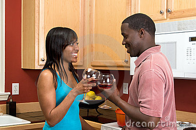 African American Couple With Wine Glasses - Horiz