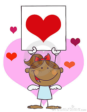 African American Cupid Girl With Banner Heart