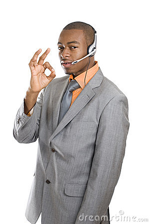 African american customer support operator