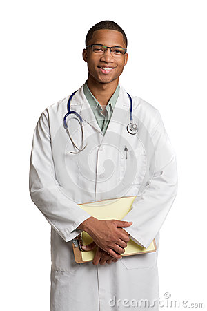 African American Doctor Holding a Notepad
